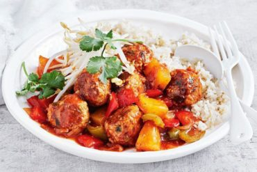 Pork Meatball With Sweet And Sour Sauce And Chinese Cabbage